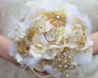 Ivory Brooch Bouquet, Vintage Brooch Bouquet, Gold Brooch Bouquet, Alternative Bouquet, Heirloom Bouquet
