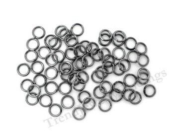 6mm Gunmetal open rings , Black Gunmetal jumprings - Black Gunmetal Jewelry Making Findings Lot -OR34