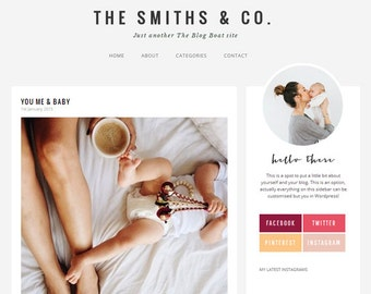 Wordpress Theme - Responsive Modern Mommy Blog Design- The Smiths & Co.