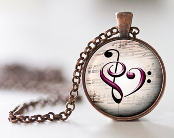 Music Heart Pendant Necklace - Treble and Bass Heart - Treble and Bass Clef - Musical Heart - Music Jewelry