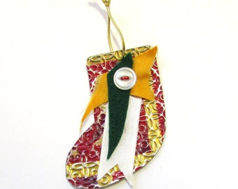 Stocking Ornament - Metal Ornament - Recycled Ornament - Christmas Stocking - Eco Friendly Ornament