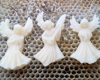 White Angle  Ornaments. 3 angle ornaments hand made with 100%  Beeswax, Beeswax angel ornaments,  Christmas angels, beeswax ornaments.