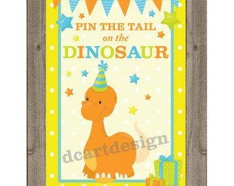 Pin the tail on the dinosaur game and sign printable pin for Pin the tail on the dinosaur template
