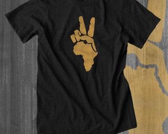Peace to Africa T shirt Positive Message T shirt Inspiring Tee Cool t shirts Afrocentric Kwanzaa gifts Cyber Monday Black Lives Matter