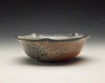 Ceramic Bowl - Scalloped Wood and Soda Fired Bowl