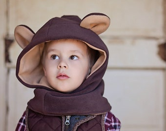 Bear Fleece Hat, Kids Costume Hat, Boys Hooded Scarf