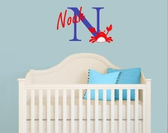 Nursery Wall Decal, Custom Name with Crab