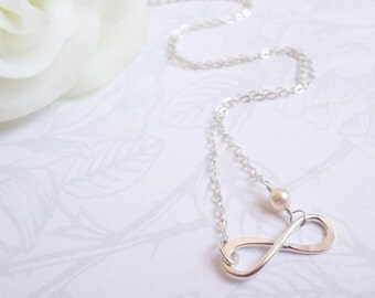 Sterling Silver Infinity Necklace Infinity Bridesmaid Necklace Sterling Infinity Layering Necklace Bridesmaid Gift FREE US Shipping