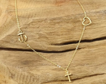 Hope faith love necklace 14k gold plated