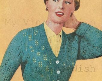 1950s Cardigan Vintage Knitting Pattern - PDF  Instant Download