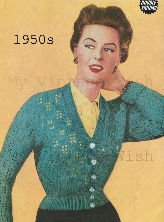 1950s Cardigan Vintage Knitting Pattern PDF Instant