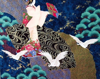 Geisha Panel: Teal Asian Japanese Fabric (Panel 24 Inches x 22 Inches)