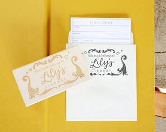 Personalized Library Cards with Self-Adhesive Pocket Holder and Bookplate Rubber Stamp