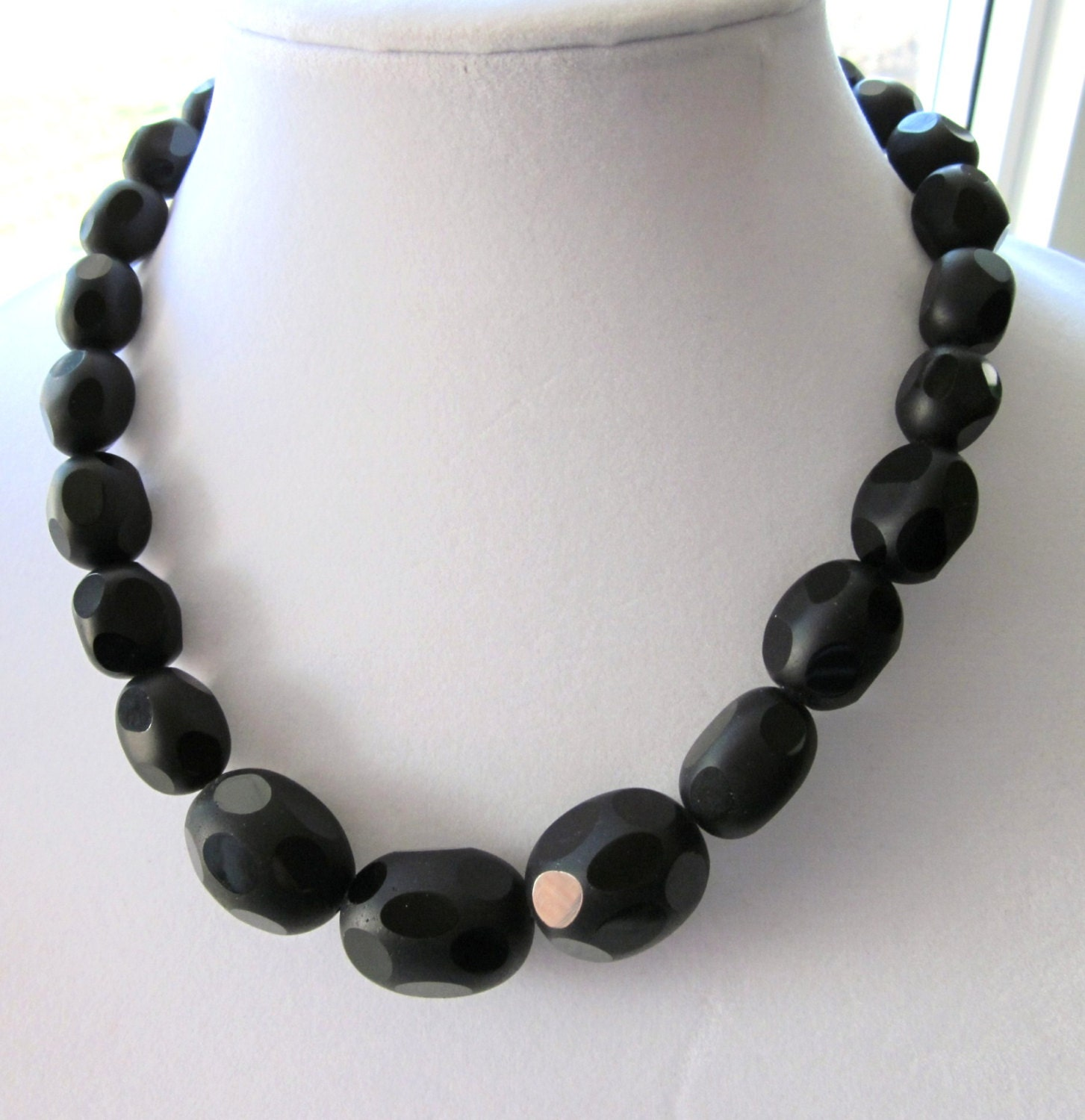 black obsidian necklace madmen inspired necklace by