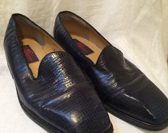Navy Blue Reptile Skin Slip On Dress Shoes by Giorgio Brutini Men's size 9 1/2 M