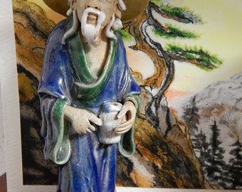 "4 1/2"" Chinese Mudman/Mudmen with Vase Majolica Glaze - China Shekwan"