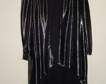 2 Pc. Gilberti Womens 20W Iridescent Paisley Jacket + Classic Black Party/Holiday Dress
