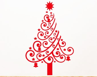 Merry Christmas Tree Wall Stickers Vinyl Removable Decal Xmas gift nursery decor