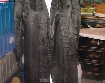 1920's Black Satin Coat with Long Scarf for Collar, Fabulous Cuffs