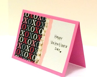 Happy Valentine's Day Pink Card with envelope