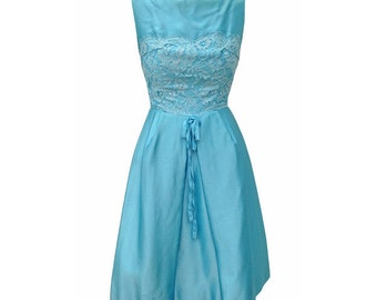 1950s satin vintage prom dress in duck egg blue