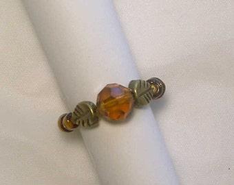 """Cynthia Lynn """"AUTUMN GEMS"""" Bronze Fall Leaf Leaves Amber Crystal Beaded Stretch Ring Sz 5-7"""