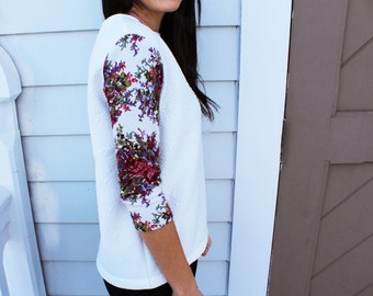 Floral Sweater, Sweater, Floral Sleeves,Quilted Sweater, Top, Fall, Floral top, floral sleeves, fashion sweater
