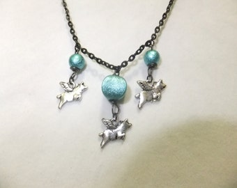 Black and Turquoise Flying Pig Necklace