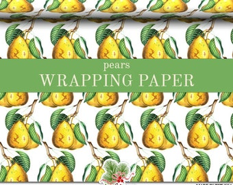 Pears Wrapping Paper |  Yellow Pears Fruit Gift Wrap In Two Sizes Great For Any Occasion. Made In The USA