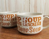 2 Vintage Typography Soup and Crackers Mug / Bowls