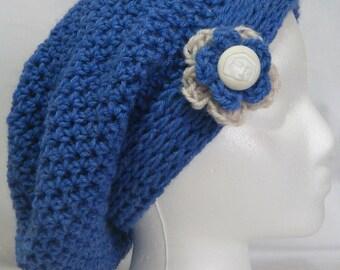 Women's Denim Blue Slouchy Beanie, Crocheted Boho Chic Slouchy Beanie, women, teen fashion accessories #130