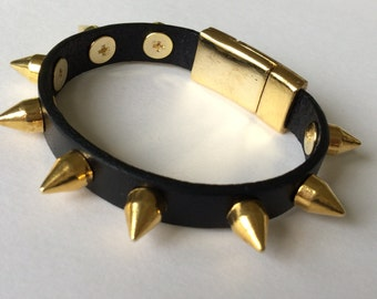 Gold Studded Black Leather Bracelet, Leather Bangle, Women's Leather Bracelet, Gold Magnetic Clasp, Leather Bracelet, Black and Gold