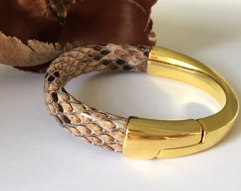Snakeskin Print Bracelet with Gold Tone Half Cuff , Magnetic Clasp,  Bangle, Brown/Taupe