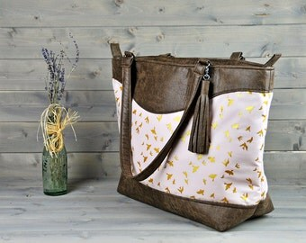 Womens Large Brown Recycled Leather Weekend Bag Shopping Tote Ladies Shoulder Cross Body Handbag Nappy Diaper Bag Pastel Pink Gold Bird