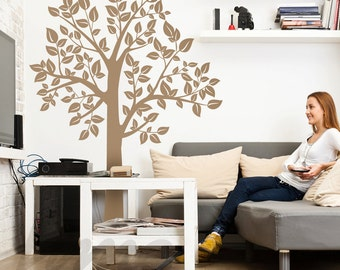 Family Tree Wall Decal - Tree Wall Mural - birch tree neutral living room  A0032
