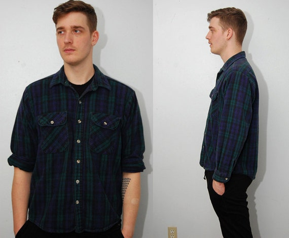 Vintage flannel shirt l green black 90s grunge plaid for Green and black plaid flannel shirt