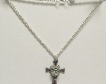 Vintage Alchemy Gothic Pewter Demon Skull Gothic Cross Pendant on 18 inch Silver link Chain Necklace 01 Satanic Halloween