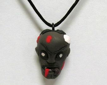 OOAK Handmade Zombie Walking Dead Pendant Necklace 16 Undead Halloween Creepy Scary
