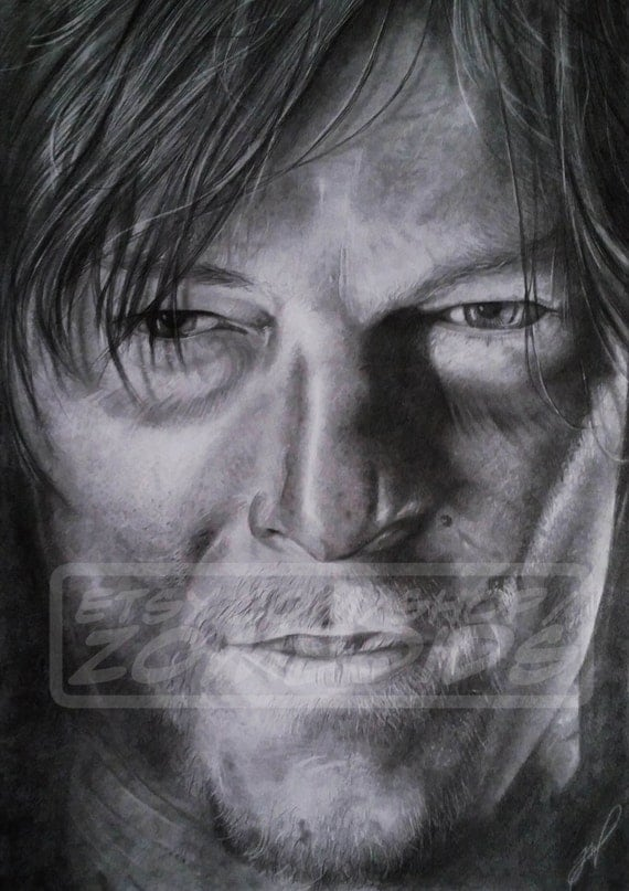 A3 Daryl Dixon Portrait (Norman Reedus) Original Graphite Work (not a print)