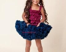 Baby girl's full ruffle PREMIUM Navy Blue pettiskirt tutu skirt petticoat twins triplets photo prop Newborn 6-12-18-24 mo 2 baby shower gift