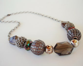 Brown and Gunmetal Beaded Chain Necklace