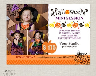 Halloween Mini Session Template - Photography Marketing Board -Flyer - Postcard 070 - C230, INSTANT DOWNLOAD