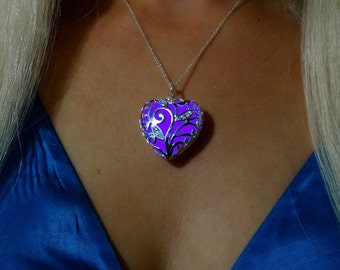 Purple Blue Glowing Heart Necklace - Glowing Jewelry - Glowing Pendant - Heart Glow Necklace - Glow in the Dark - Gifts for Her