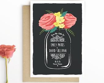 Floral Mason Jar Save the Date Card, Boho Save The Date, Modern Rustic Save the Date, Roses, Illustration