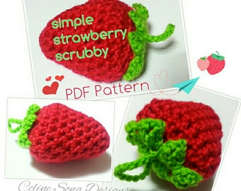Strawberry Scrubbies Crochet Pattern - diy PDF simple strawberry scrubby pattern