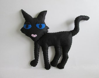 Coraline's Cat Plush Inspired by Coraline Movie, Black Cat Plush, Coraline Cat Plush (Unofficial)