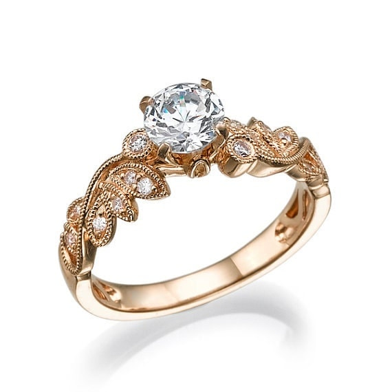 gold diamond engagement ring in 14k rose gold with unique leaf. Black Bedroom Furniture Sets. Home Design Ideas