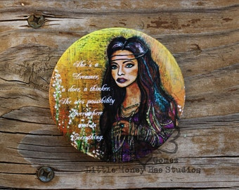 Gypsy Magnet: 3 inch Mylar - Dreamer - Bohemian Gypsy - Kitchen Magnet - Office Magnet - Gypsy Art - Office Magnet - Locker Magnet - Gifts