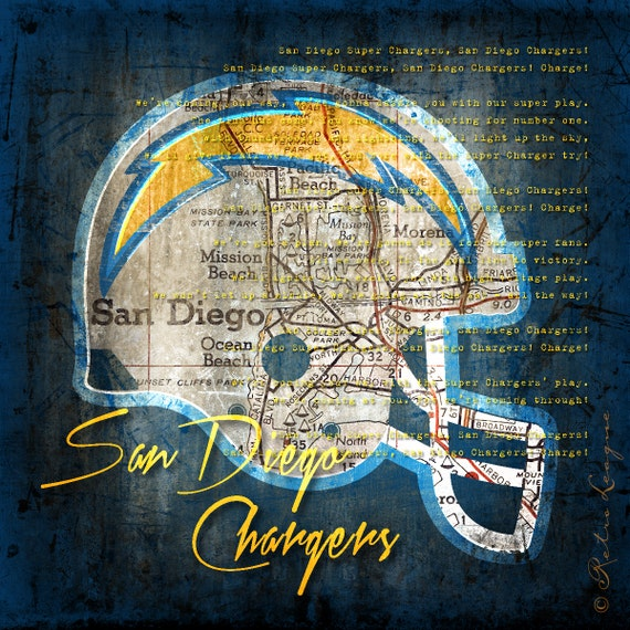 San Diego Chargers Fan: San Diego Chargers Retro City Map With Chargers Fight Song