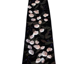 Hand Painted Men Silk Necktie Novelty Art Neck Tie Roses to Heaven Light Pink